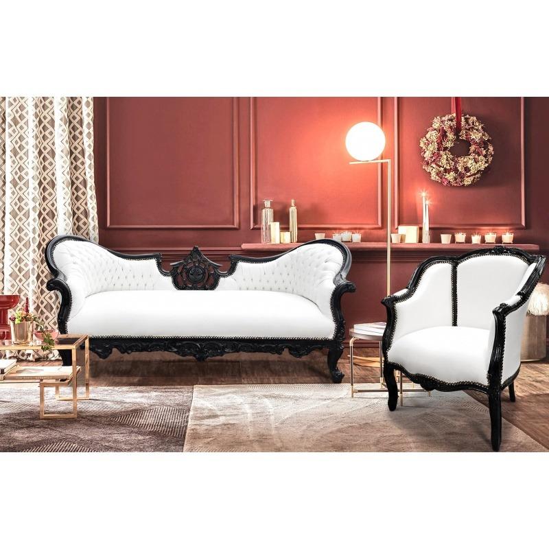 grande berg re baroque de style louis xv simili cuir blanc et bois laqu noir. Black Bedroom Furniture Sets. Home Design Ideas