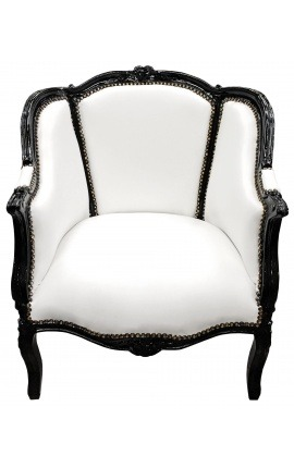 Bergere armchair Louis XV style white leatherette and black wood