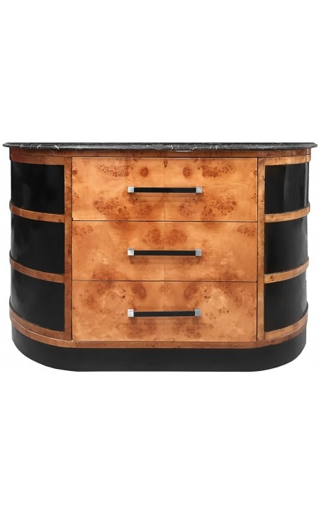 Art Deco Style Buffet in Elm Burl and Black Marble