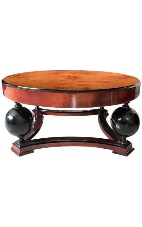 Table basse de style art déco en loupe d'orme et laque noire