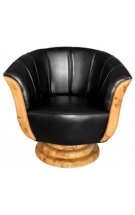 Кресло «Тюльпан» арт-деко вяза и черная искусственная кожа