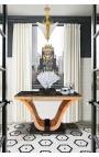 Console de style art déco en loupe d'orme et marbre noir