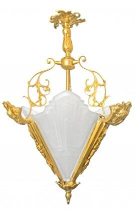 Lustre de style Art Deco à 3 côtés en bronze et verre dépoli