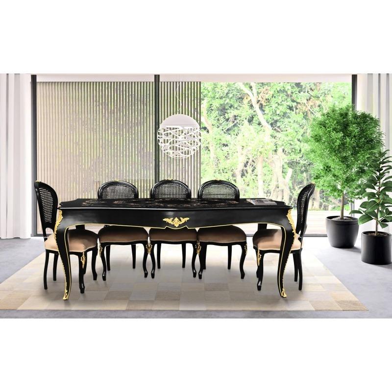 tr s grande table de repas baroque avec marqueterie et bronzes dor s. Black Bedroom Furniture Sets. Home Design Ideas