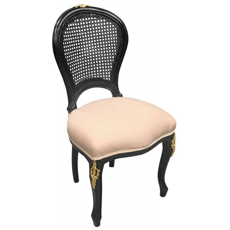 Chaise de style louis xv cann e tissu lin beige et bois for Chaise en tissu noir