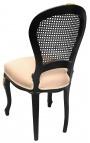Chaise de style Louis XV cannée, tissu lin beige et bois satiné noir