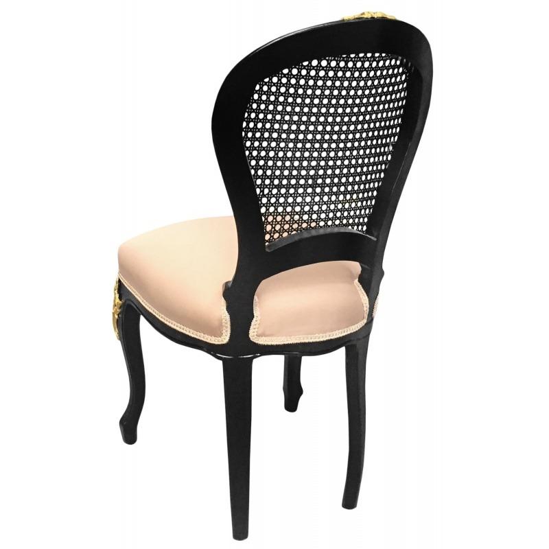 Chaise de style louis xv cann e tissu lin beige et bois - Chaise noir et bois ...
