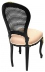 Louis XV style chair caned back, beige velvet and beige patinated wood