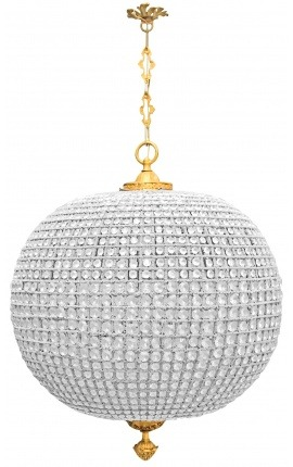 Huge chandelier ball glass with bronze decoration
