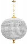 Enorme lustre boule à pampilles verre avec bronzes
