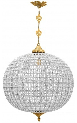 Large ball chandelier with clear glass and gold bronze