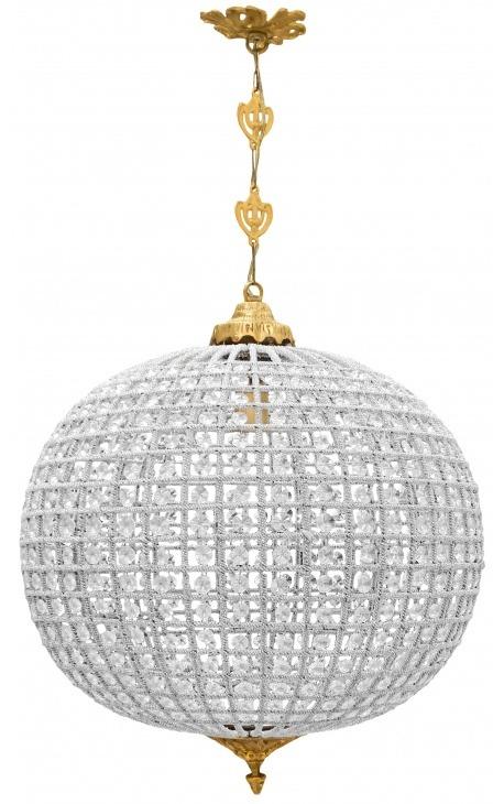 Grand lustre boule à pampilles verre transparente avec bronzes