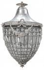 Grand lustre à pampilles verre transparente avec bronzes argentés
