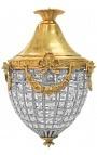 Люстра подвесками прозрачного стекла с бронзовым