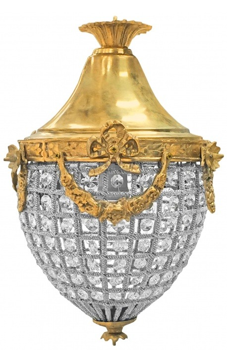 Lustre à pampilles verre transparente avec bronzes