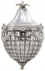 Chandelier transparent glass with silver bronzes