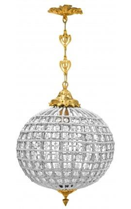 Lustre boule à pampilles verre transparente avec bronzes dorés