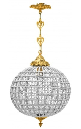 Ball chandelier with clear glass and gold bronze