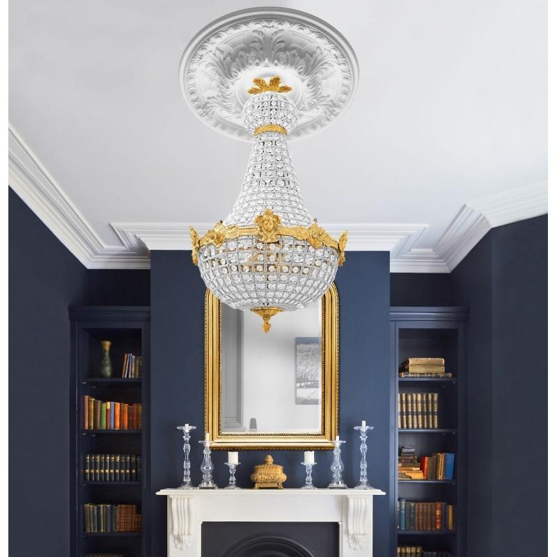 lustre montgolfi re pampilles verre avec bronzes. Black Bedroom Furniture Sets. Home Design Ideas