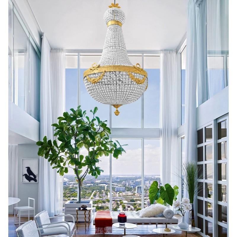 enorme lustre montgolfi re pampilles verre avec bronzes. Black Bedroom Furniture Sets. Home Design Ideas