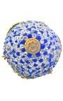 Lustre à pampilles boules en verre bleu et blanches avec bronzes