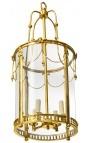 Grande lanterne de hall d'entrée en bronze doré style Louis XVI