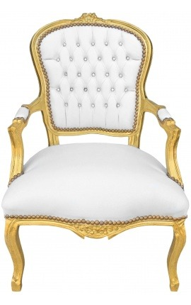 Baroque armchair of Louis XV style white faux leather with rhinestones and gold wood