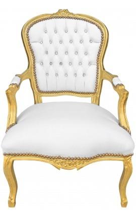 Fauteuil Louis XV de style baroque simili cuir blanc avec strass et bois doré