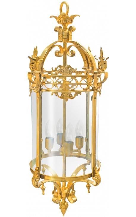 Grande lanterne de hall d'entrée en bronze doré