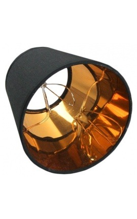 Golden and black lampshade to clip-on bulbs perfect for wall lights