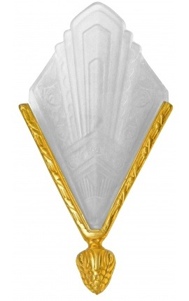 Art Deco wall sconce in bronze and frosted glass