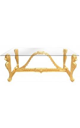 Большой обеденный стол в стиле барокко, вырезанный позолоченной древесине и стеклянному стеклу
