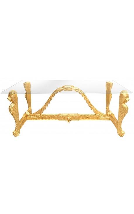 Grande table de repas baroque en bois doré sculpté et plateau verre