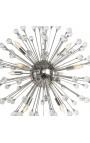 """Orion"" chandelier in nickel-plated stainless steel and glass"