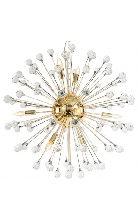 """Orion"" chandelier in gold colored stainless steel and glass"