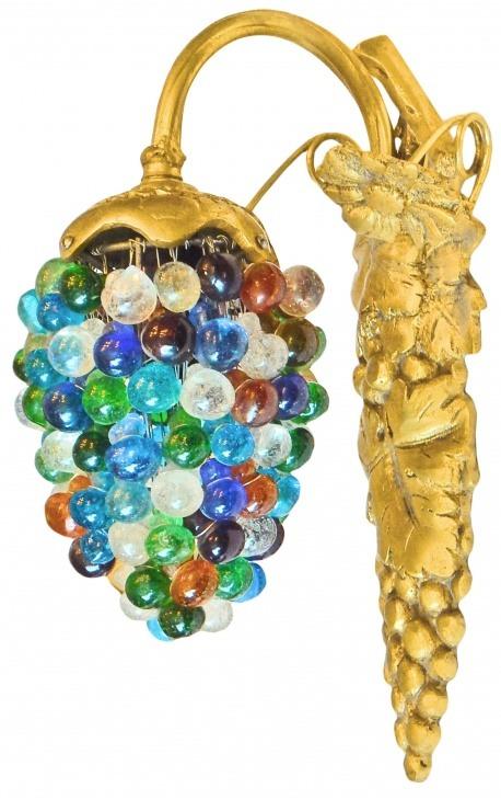 Applique ovale à pampilles verre multicolores avec support en bronze