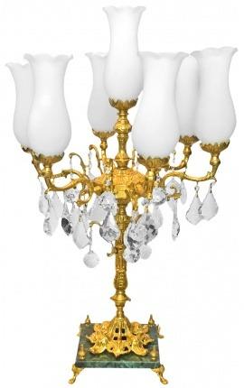 Grand candélabre en bronze et marbre avec pampilles en verre