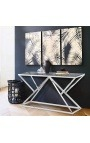"Console ""Calypso"" in stainless steel silver finish and glass top"