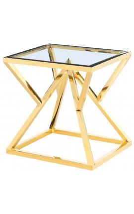 """Bout de canapé """"Calypso"""" en acier inoxydable doré et plateau en verre"""