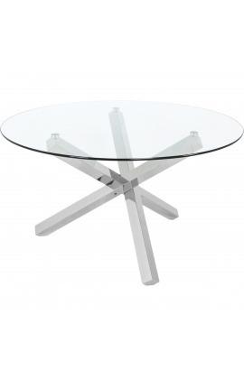 """Grande table de repas """"Athena"""" en acier inoxydable argenté et plateau en verre"""
