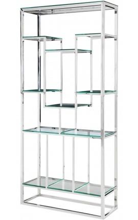 """Meuble de rangement """"Gaïa"""" en acier inoxydable argenté et étagères en verre"""