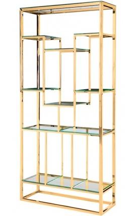 """Meuble de rangement """"Gaïa"""" en acier inoxydable doré et étagères en verre"""