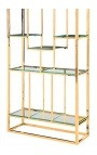 "Storage cabinet ""Gaia"" gold-plated stainless steel and glass shelves"