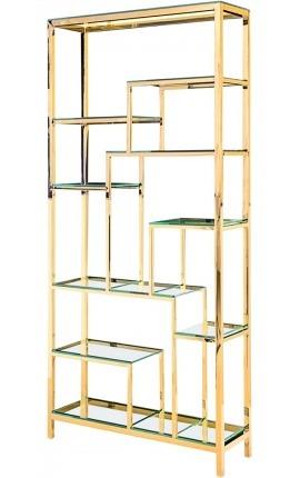 """Meuble de rangement """"Aura"""" en acier inoxydable doré et étagères en verre"""