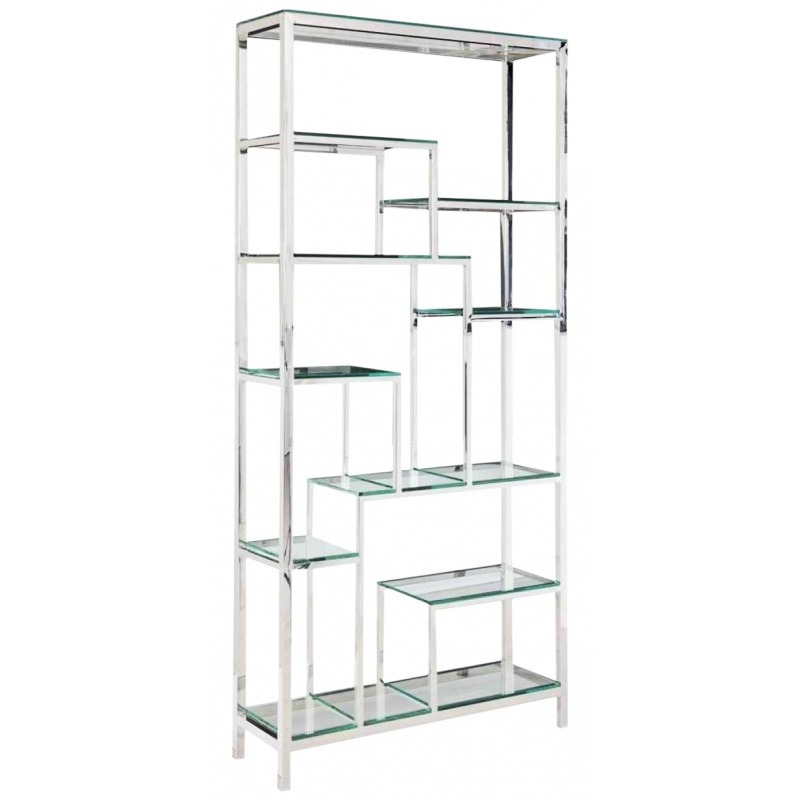 Storage Cabinet Aura Silver Finish Stainless Steel And Glass Shelves