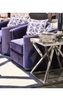 Боковой стол «Calypsо» из серебристой нержавеющей стали и стекла