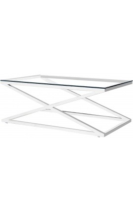 """Table basse """"Zephyr"""" en acier inoxydable argenté et plateau en verre"""