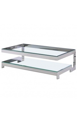 Coffee Table Hermes In Gold Finish Stainless Steel And Glass Top - Hermes coffee table