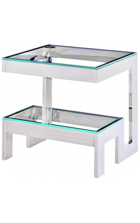 bout de canap hermes en acier inoxydable argent plateau en verre. Black Bedroom Furniture Sets. Home Design Ideas