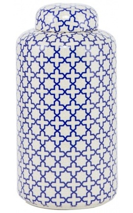 """Urne décorative """"JYNX"""" en céramique blanc émaillé grand modèle"""